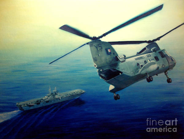 Helicopter Painting - Coming Home by Stephen Roberson