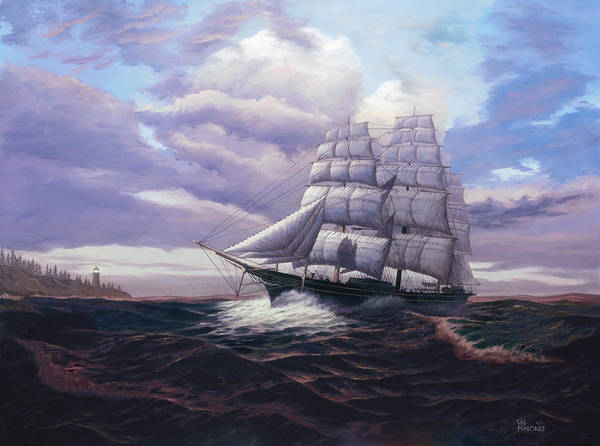 Tall Ships Wall Art - Painting - Coming Through The Storm by Del Malonee