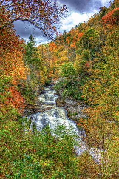 Thru Photograph - Coming Thru Majestic Cullasaja Falls North Carolina Waterfall Art by Reid Callaway