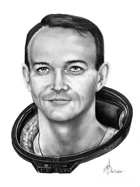 Astronaut Drawing - Commander Michael Collins by Murphy Elliott