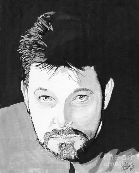 Drawing - Commander Riker by Bill Richards