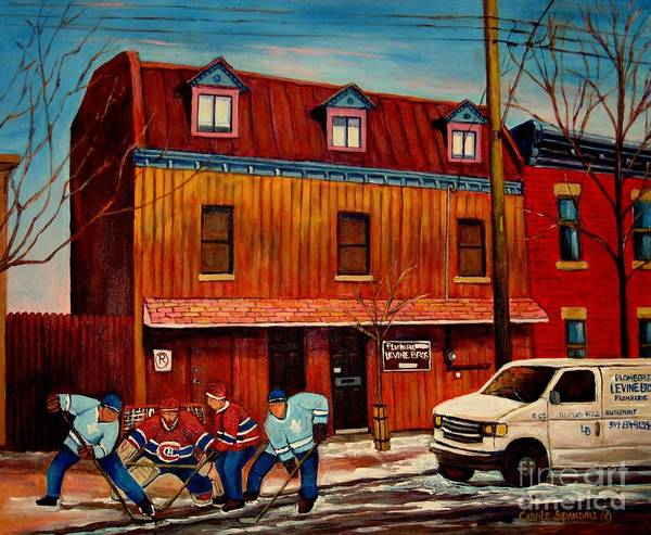 Boys Playing Hockey Painting - Commission Me Your Store by Carole Spandau