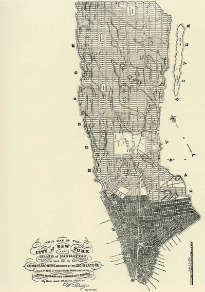New York City Map Drawing - Commissioners' Map Of Manhattan, 1811 by American School