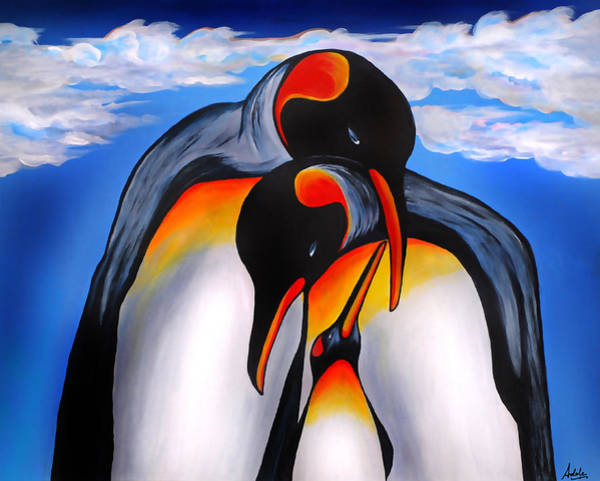 King Penguin Wall Art - Painting - Commitment by Adele Moscaritolo