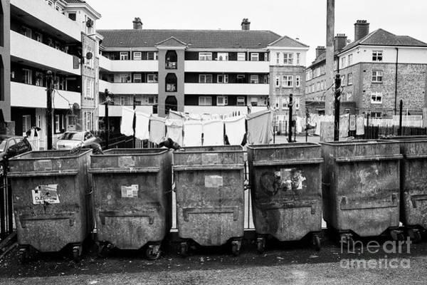 Wall Art - Photograph - Communal Bins And Play Area Of Dublin Social Housing Oliver Bond Flats In The Liberties Dublin City  by Joe Fox