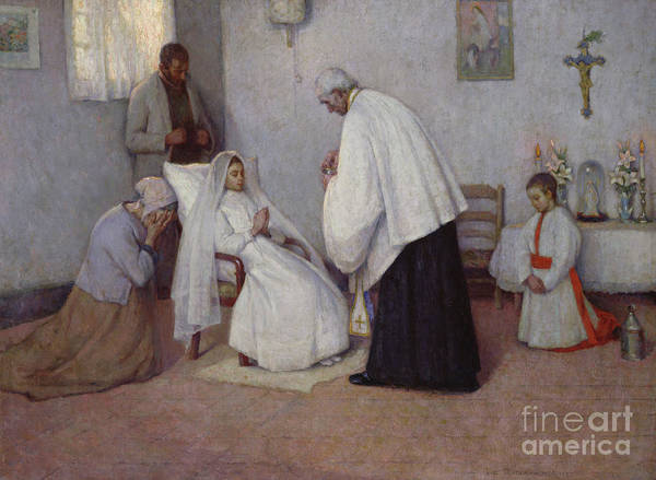 Wall Art - Painting - Communion In Extremis by Henri Eugene Augustin Le Sidaner