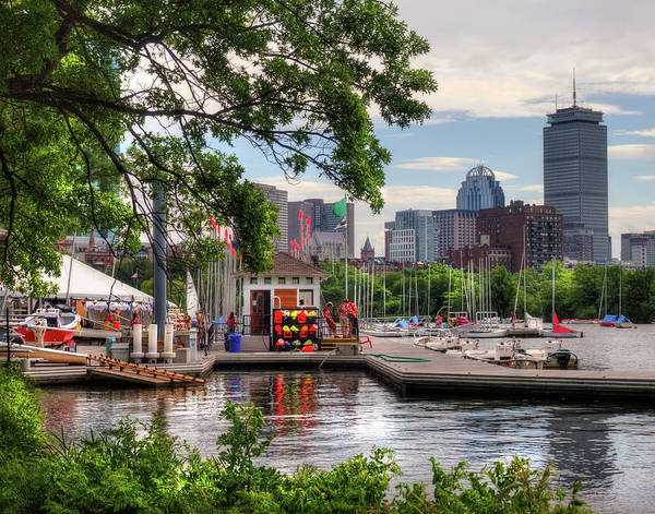 Photograph - Community Boating Kayaks And Sailboats - Boston by Joann Vitali