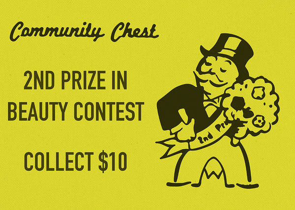 Chest Wall Art - Mixed Media - Community Chest Vintage Monopoly Board Game 2nd Prize In Beauty Contest by Design Turnpike