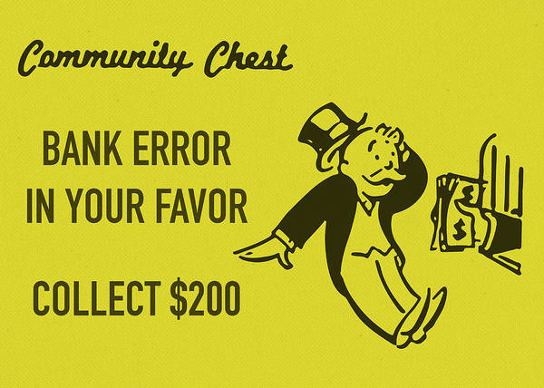 Chest Wall Art - Mixed Media - Community Chest Vintage Monopoly Board Game Bank Error In Your Favor by Design Turnpike