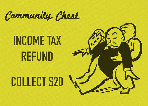 Wall Art - Mixed Media - Community Chest Vintage Monopoly Board Game Income Tax Refund by Design Turnpike