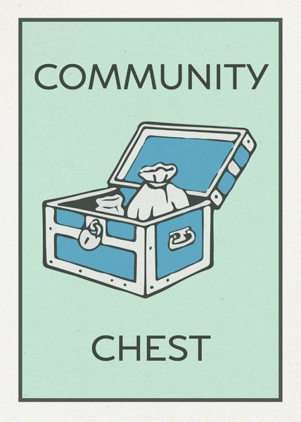 Chest Wall Art - Mixed Media - Community Chest Vintage Monopoly Board Game Theme Card by Design Turnpike