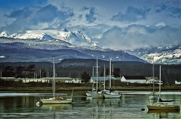 Frozen River Digital Art - Comox Glacier Overlooking Comox Harbor by Richard Farrington