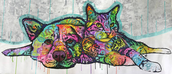 Cats And Dogs Painting - Companions by Dean Russo Art