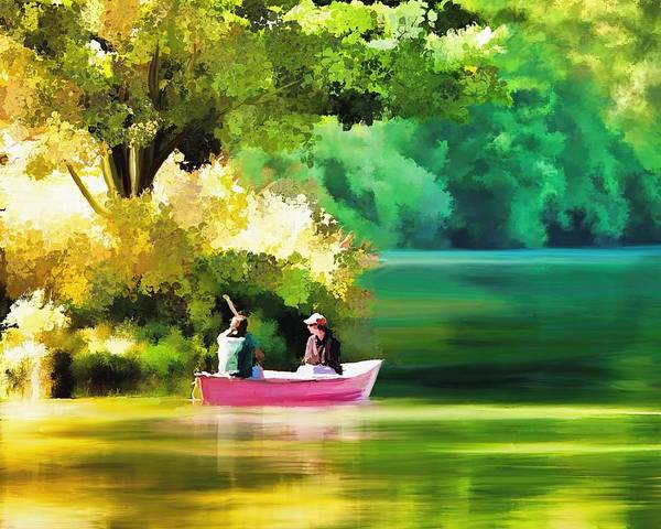 Painting - Companionship - A Day On The Lake by Nature Scenes