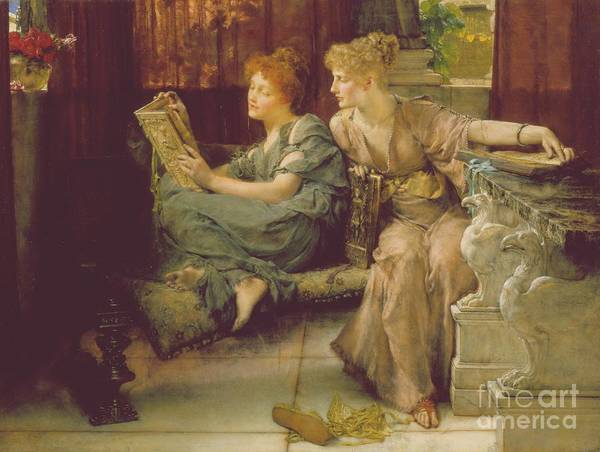 Woman Reading Wall Art - Painting - Comparison by Sir Lawrence Alma-Tadema