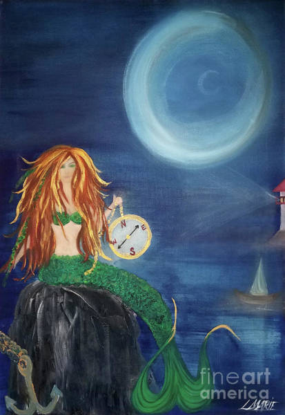 Wall Art - Painting - Compass Mermaid by Artist Linda Marie
