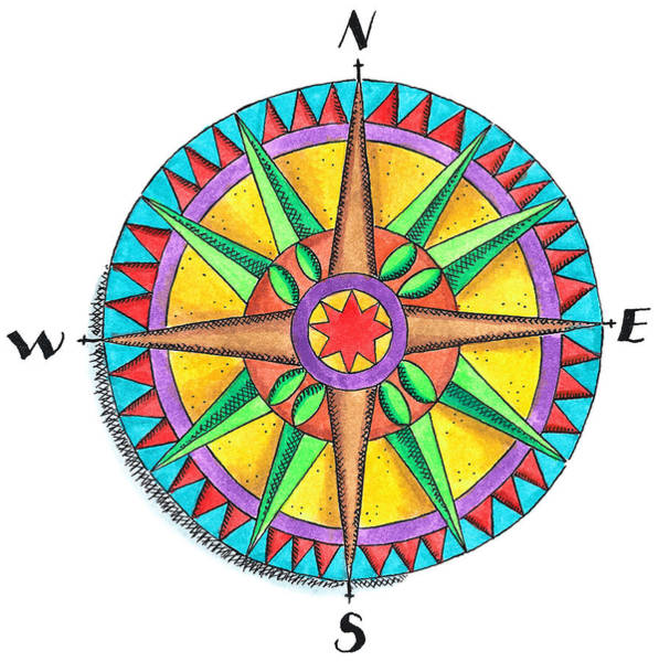 Cut-out Digital Art - Compass Rose by Jennifer Thermes