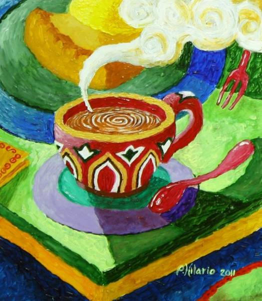 Pastries Painting - Complementary Coffee 3 by Paul Hilario