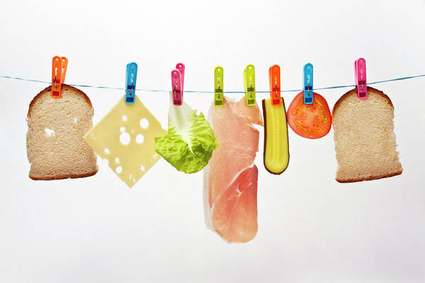 Wall Art - Photograph - Components Of Sandwich Pegged To Washing Line by Image by Catherine MacBride