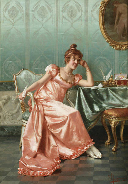Wall Art - Painting - Composing A Letter by Vittorio Reggianini