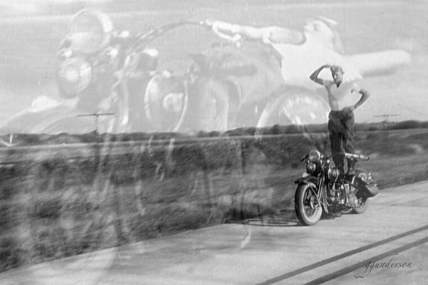 Composite Of 2 Old Harley Davidson Photographs Art Print