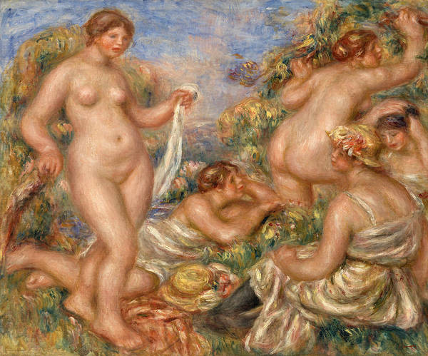Wall Art - Painting - Composition, Five Bathers by Pierre-Auguste Renoir