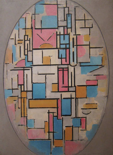 De Stijl Painting - Composition In Oval With Color Planes 1 by Piet Mondrian