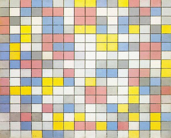 De Stijl Painting - Composition With Grid Ix by Piet Mondrian