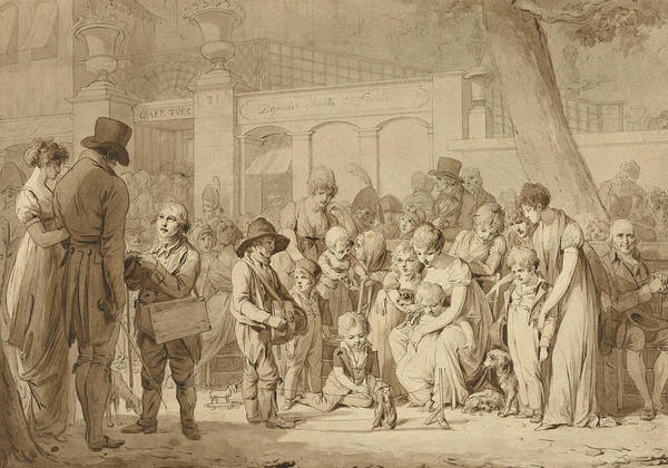 French Artist Drawing - Compositional Drawing For Entrance To The Jardin Turc by Louis-Leopold Boilly