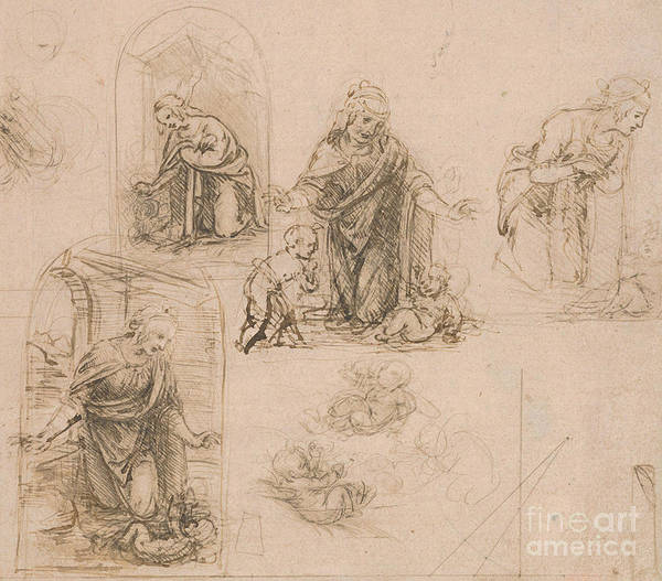 Wall Art - Drawing - Compositional Sketches For The Virgin Adoring The Christ Child by Leonardo Da Vinci