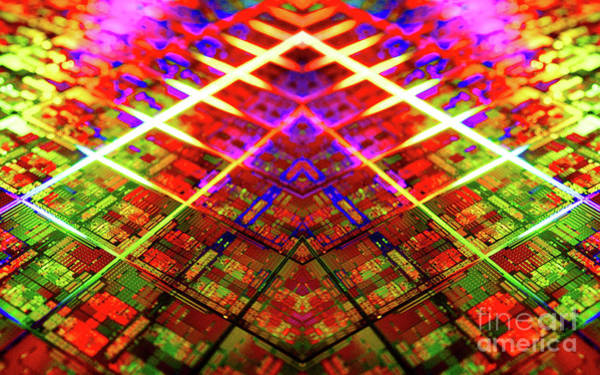 Photograph - Computer Circuit Board Kaleidoscopic Design by Doc Braham