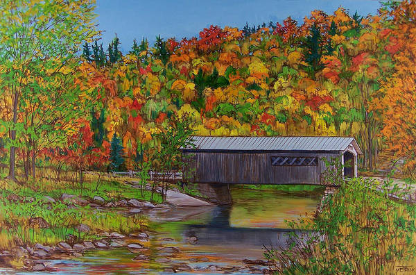 Wall Art - Painting - Comstock Bridge by Vermont Artworks
