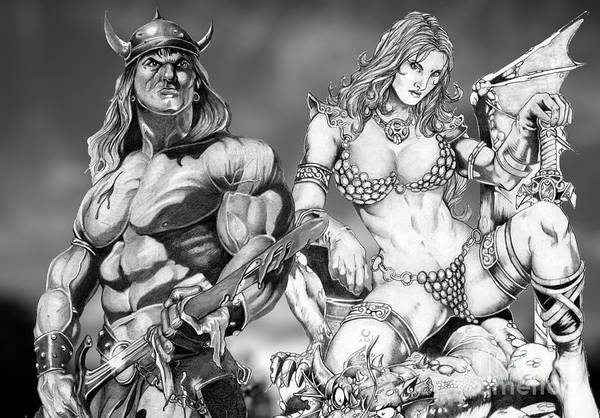 Drawing - Conan And Red Sonja by Bill Richards