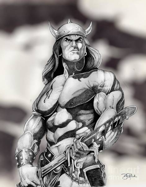 Drawing - Conan The Barbaian by Bill Richards