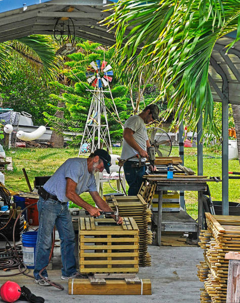 Photograph - Conch Key Lobster Trap Builders by Ginger Wakem