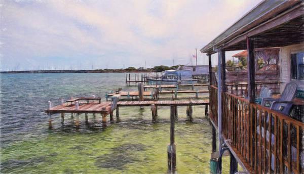 Digital Art - Conch Key Porch And Docks 2 by Ginger Wakem