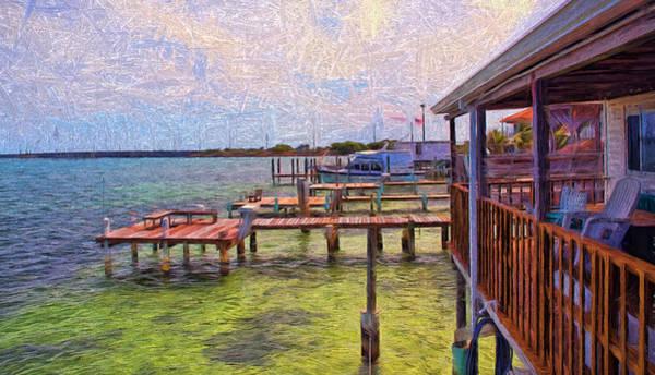 Digital Art - Conch Key Porch And Docks 3 by Ginger Wakem
