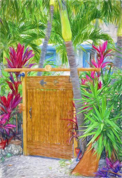 Digital Art - Conch Key Wicker Gate 4 by Ginger Wakem