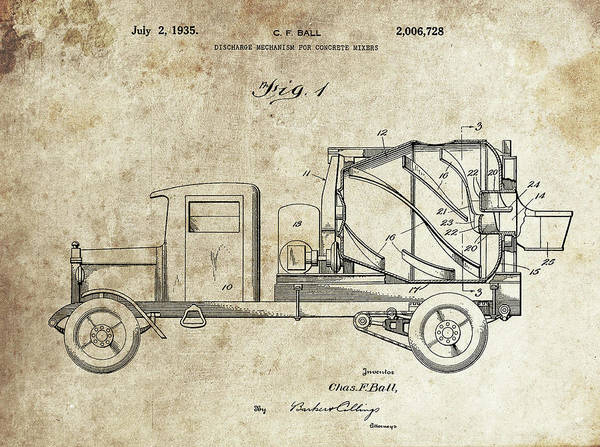 Wall Art - Drawing - Concrete Mixer Patent by Dan Sproul