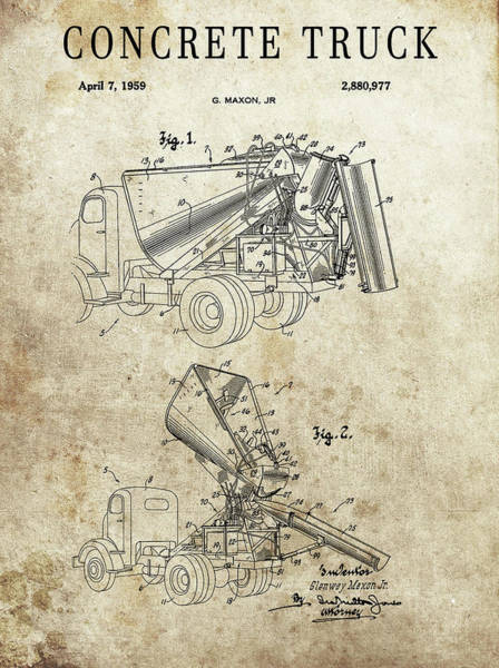 Wall Art - Drawing - Concrete Truck Patent by Dan Sproul
