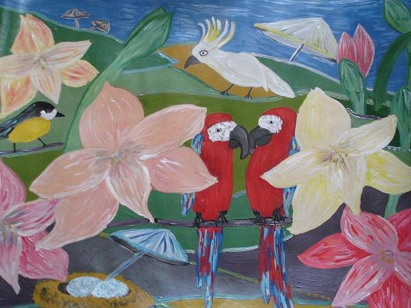 Amaryllis Painting - Conditional Reality With Parrots by Inga Leitasa
