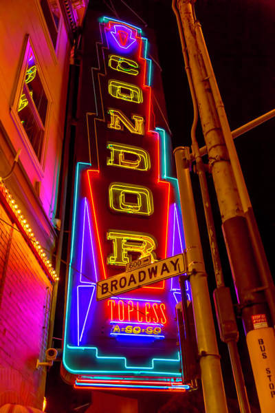 Vintage Neon Sign Photograph - Condor Neon On Broadway by Garry Gay