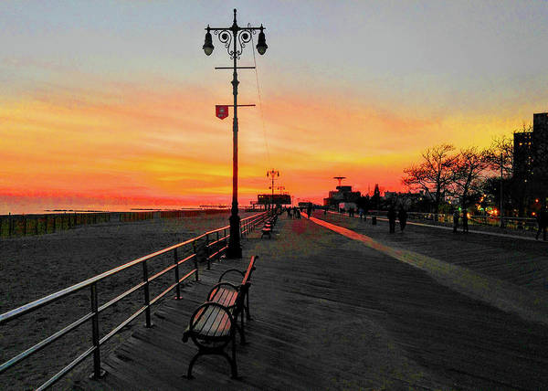 Photograph - Coney Island Boardwalk Sunset by Roger Bester
