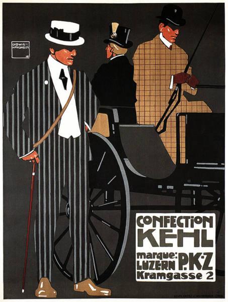 Clothing Mixed Media - Confection Kehl - Luzern, Switzerland- Men's Clothing - Fashion - Vintage Advertising Poster by Studio Grafiikka
