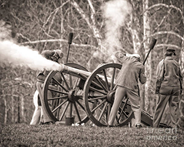 Photograph - Confederate Arttillery  Cannon Flame At Reenactment 1564s by Cynthia Staley