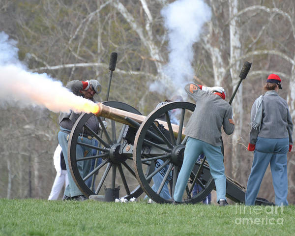 Photograph - Confederate Brass Cannon With Flame 1564c by Cynthia Staley