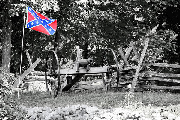 Photograph - Confederate Flag With Canon by Bonnie Willis