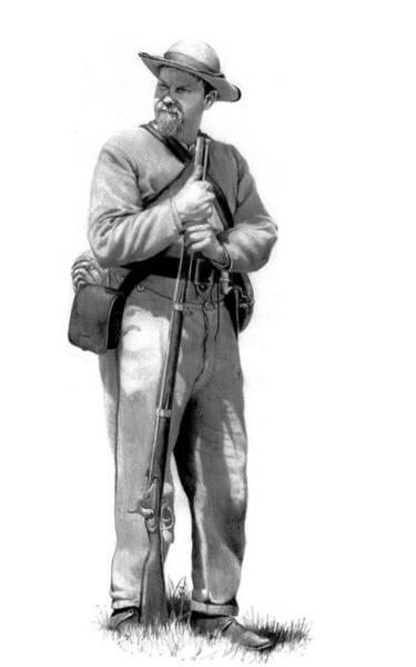 Confederate Soldier Drawing - Confederate Infantryman by Jeff Trexler
