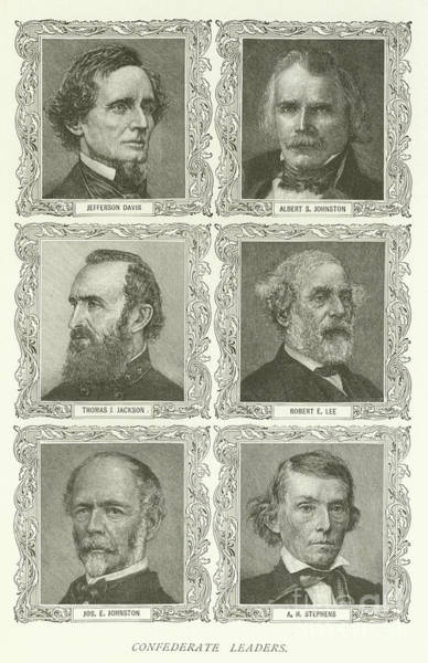 American History Drawing - Confederate Leaders by American School