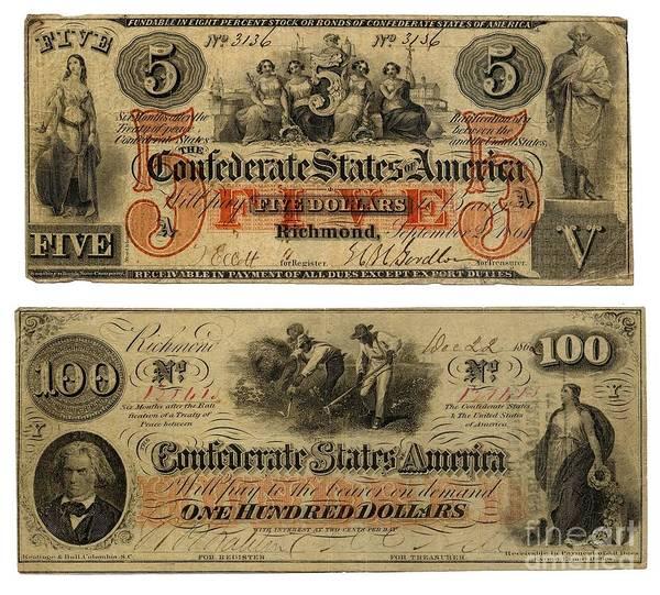 Us Civil War Digital Art - Confederate Money by Frederick Holiday
